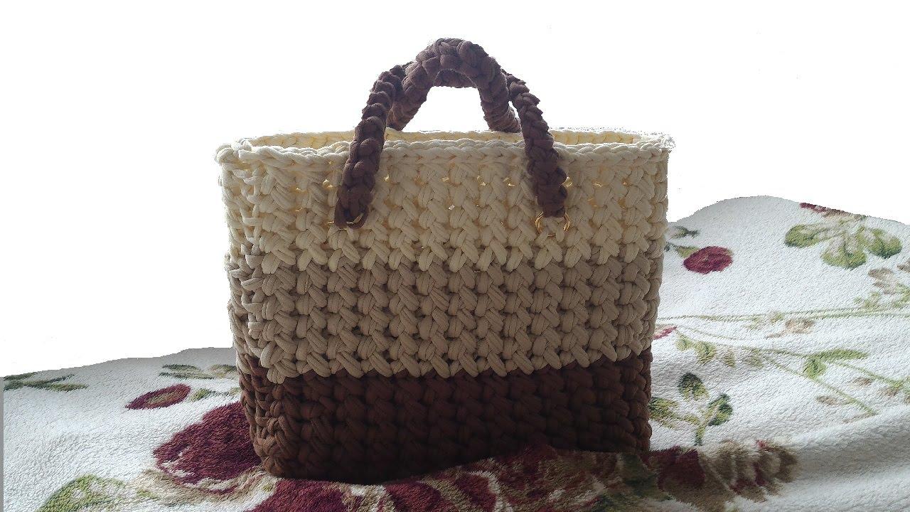 Как связать сумку из трикотажной ткани?