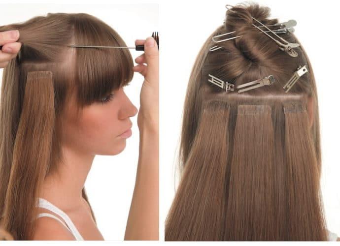 Наращивание волос лентами